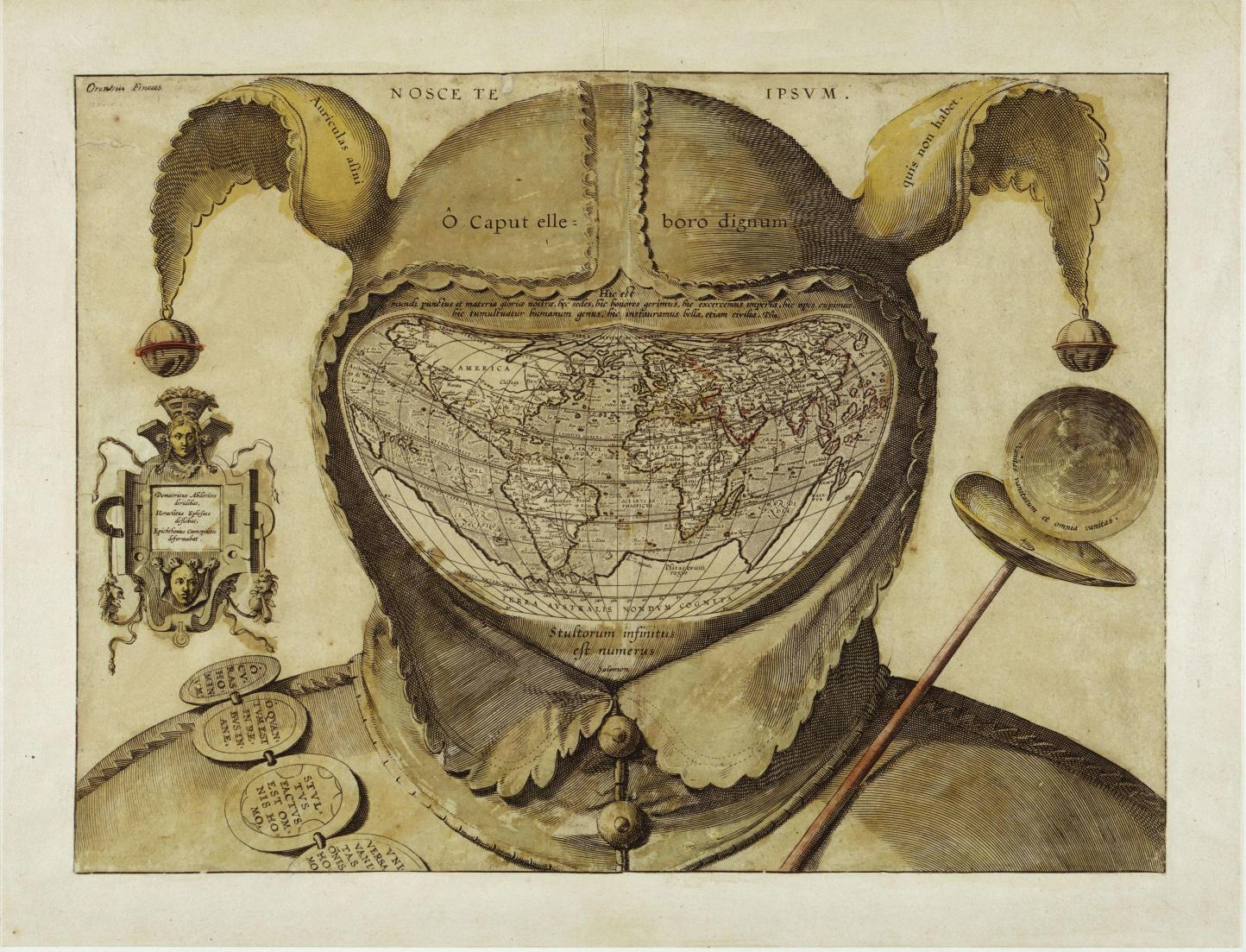 Fool's Cap Map of the World. Unknown origin c.1580-1590