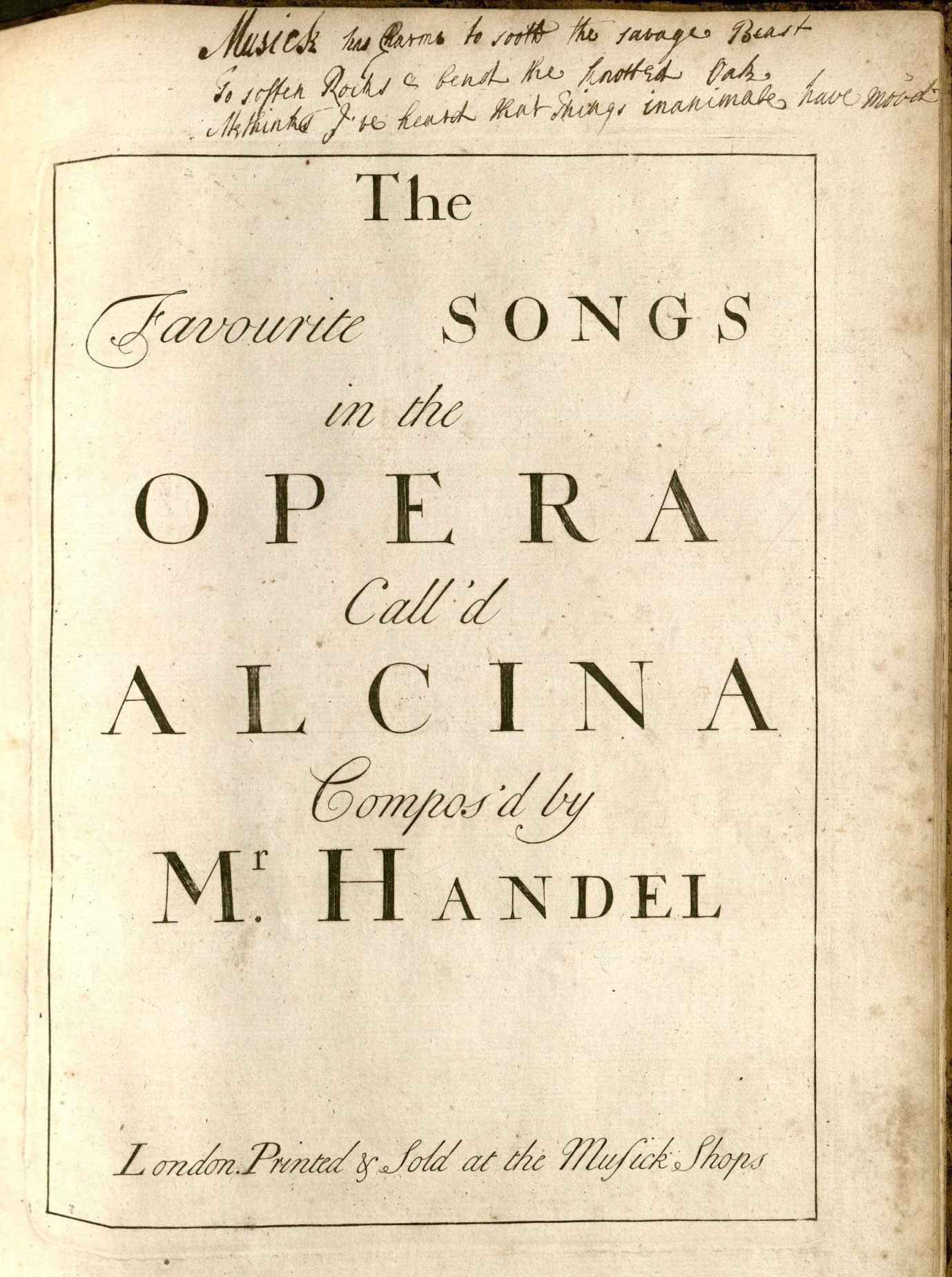 The Songs of Handel's Alcina - Published 1735
