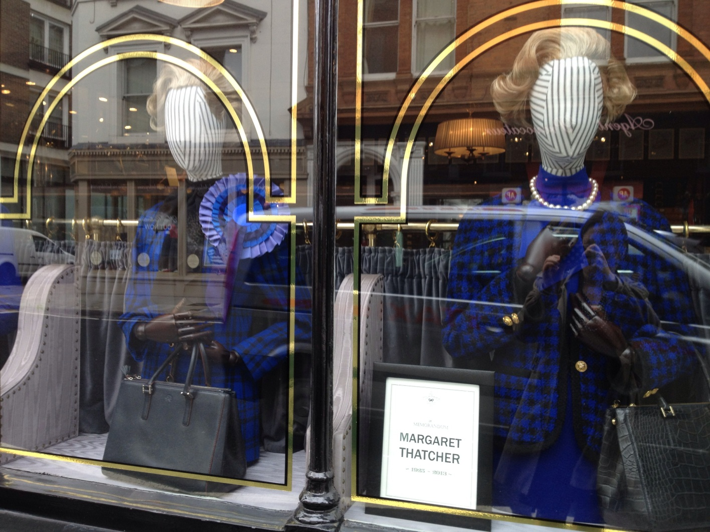 Thatcher bags, displayed on the day of her funeral. By Rachel Clarke, London